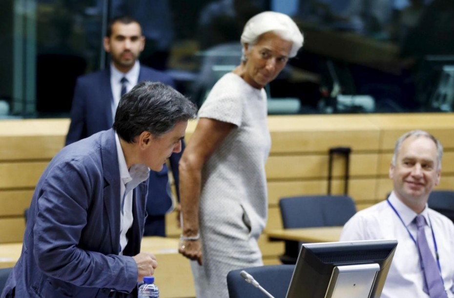 Greek Finance Minister Tsakalotos and IMF Managing Director Lagarde attend an euro zone finance ministers meeting in Brussels