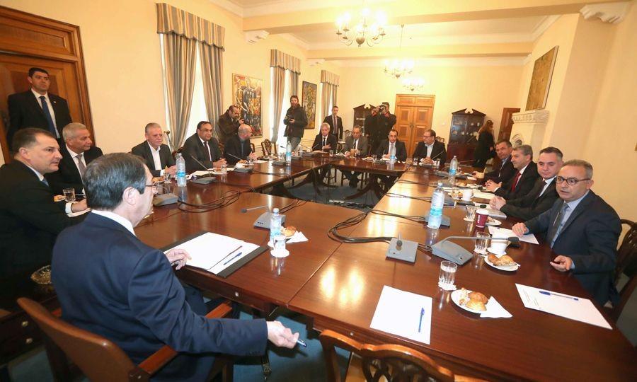 Κυπριακό: Ενημέωση Αναστασιάδη στους πολιτικούς  αρχηγούς