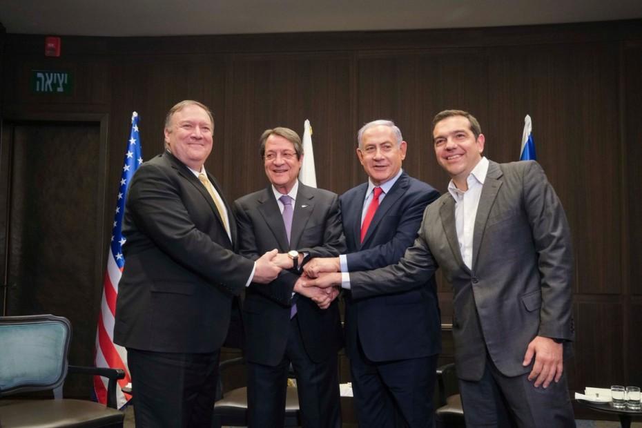 Ικανοποίηση Τσίπρα για τη συμμετοχή Πομπέο στην τριμερή με Κύπρο και Ισραήλ