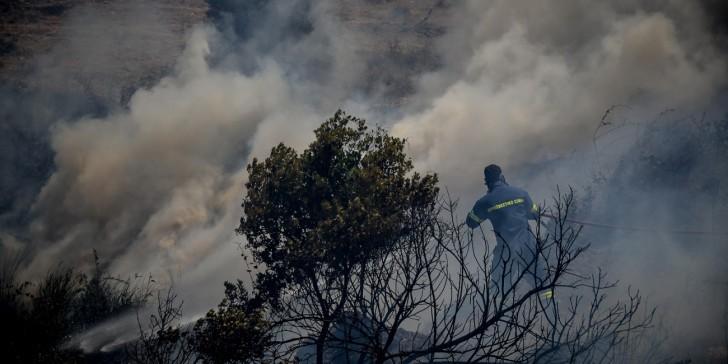 Σε εξέλιξη πυρκαγιά στη Μάνδρα