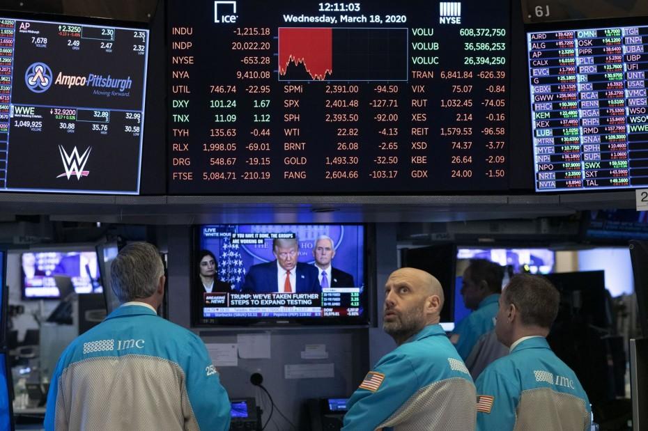 Ισχυρή άνοδος στη Wall Street, αναμένοντας τον Τραμπ για τον κοροναϊό