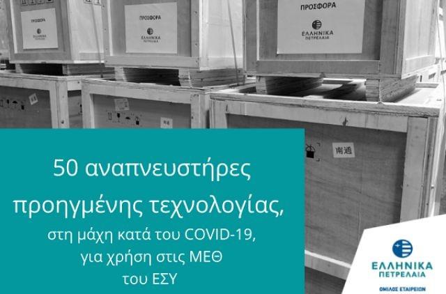 ΕΛΠΕ: Δωρεά 50 αναπνευστήρων για τις ΜΕΘ στο ΕΣΥ