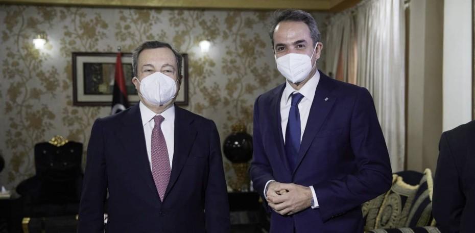 Λιβύη: Συνάντηση Μητσοτάκη - Ντράγκι - Ικανοποίηση στην ιταλική κυβέρνηση